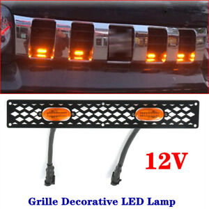 1x Car Front Bumper Grille LED Yellow Light 12V Decorative Lamp 180*40MM Bracket
