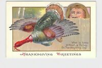 ANTIQUE POSTCARD THANKSGIVING TURKEY GREETINGS WHAT IS HOME WITHOUT A TURKEY ON