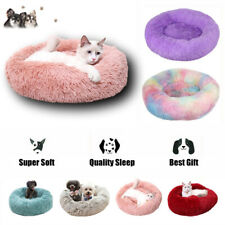 Plush Cat Dog Calming Bed Fluffy Donut Samll Large Dogs Bed Sleeping Kennel Nest