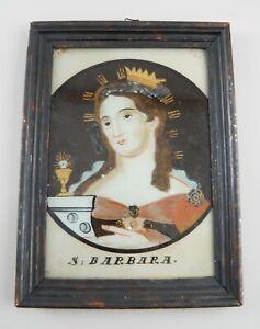 Hinterglasbild Hinterglasmalerei Hl. Barbara gerahmt