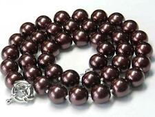 Pearl Necklace 18''Aaa 10mm Chocolate Sea Shell