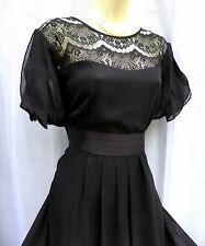 ABSOLUTELY STUNNING MONSOON GWYNETH SIZE 12 LACE+SILK BLACK 40's OCASSION DRESS