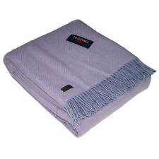 Lifestyle Stone and Lilac Herringbone Wool Throw by Tweedmill Textiles