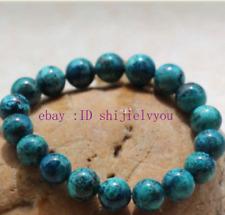 Beautiful Natural 10mm Chrysocolla Round Gemstone Beads Stretch Bracelet 7.5''