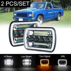 For 82-93 Chevy S10 Blazer GMC S15 7X6 Projector LED Headlights 2PC DOT