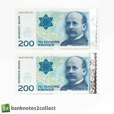 More details for norway: 2 x 200 norwegian krone banknotes with consecutive serial numbers.