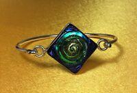 925 Sterling Silver/Glass Gemstone Mexico Ladies Bangle Bracelet Fine Jewelry