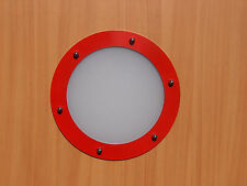 PORTHOLE FOR DOORS STAINLESS STEEL RED (RAL3020) phi 323 mm flat