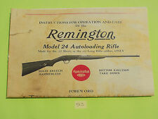 REMINGTON MODEL 24 AUTOLOADING RIFLE OWNER'S MANUAL, 8 PAGES INFORMATION, SAVE $