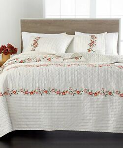 Martha Stewart Collection Quilt Embroidered Flowers Cotton Coverlet Full/Queen