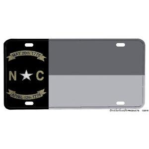 Subdued Gray Silver North Carolina State Flag Design Aluminum License Plate