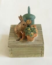Hallmark Marjolein Bastin Trinket Box Rabbit Flower Pots Dreams and Be Happy