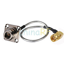SMA male RA to N female panel mount 4 hole pigtail semi-rigid cable RG405 1M 3FT