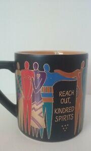 """Vtg 1992 Signed Laurel Burch 14oz Coffee Mug """"Reach Out Kindred Spirits"""" Japan"""