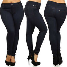 New Jeans Skinny Ladies Womens Fit Stretch Jeggings Trousers Denim Blue Black