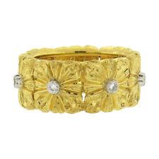 Buccellati 18k Gold Diamond Floral Wedding Band Ring