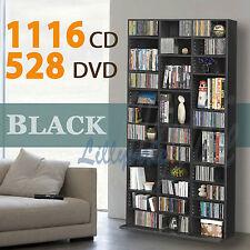 1116 Cd/528 DVD Storage Shelf Rack Unit Black Adjustable Book BLURAY Video Games