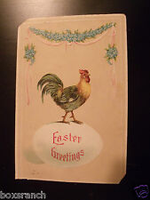 1910 POSTCARD EASTER GREETINGS CHICK CHICKEN ROOSTER STANDING ON EGG