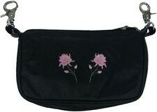 Genuine Leather Belt Bag - Hip Purse - Motorcycle Riders - Pink Flowers