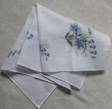 Vintage Handkerchief MENS Hankie Top Pocket Square FLORAL BLUE FLOWERS
