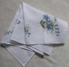 VINTAGE FINE COTTON HANKIE HANDKERCHIEF 1970s RETRO MOD FLORAL BLUE FLOWERS
