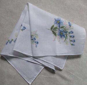 Vintage Handkerchief MENS Hankie Top Pocket Square FLORAL BLUE FLOWERS