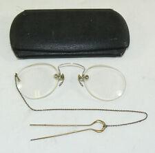 Antique Vintage Pince Nez Eyeglasses W/ Victorian 14k Yellow Gold Filled Hairpin