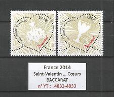 FRANCE 2014...HEARTS...Saint-Valentin...BACCARAT...YT 4832-33...MNH