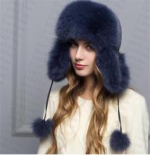 new Genuine Real fashion Winter Women fox fur New Hat Cap Headgear Beanie A12