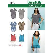 Simplicity Sewing Pattern 1160 SZ 4-26 Women's Tops, Hem & sleeve variations