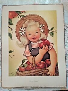 CHARMING *ROSY CHEEKS* CHARLOT BYJ SIGNED PRINT 1945