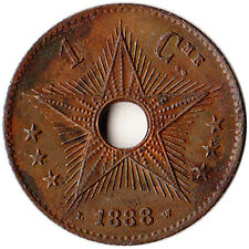 1888 Congo 1 Centime Coin KM#1 Rare Low Mintage