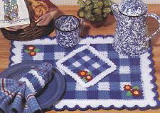Crochet Pattern ~ GINGHAM KITCHEN SET ~ Towel Topper, Place Mat, Pot Holder