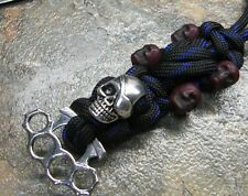 BLUE LINE PARACORD KNIFE LANYARD PIRATE SKULL BRASS KNUCKLE BEADS AMERICAN MADE