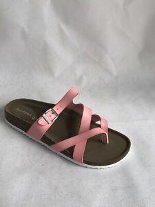 Madden Girl Women's Pink Bartlet Footbed Slip on Flat Sandals, Size 8 M