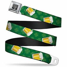 Seatbelt Belt - St. Pat's Clovers/Beer Mugs Greens Regular