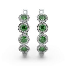 100% Natural Emerald & Diamond Halo Hoop Earrings in White Gold