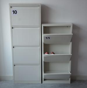 Light Grey Slim Metal Steel Four Door Wall Shoe Rack Storage Cabinet Cupboard