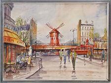 99860100 Aquarell zugeschr. Barzaschwili Paris Straßenzug Moulin Rouge