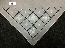 12 Pieces Hand Stitch Embroidered Embroidery Fine Linen Handkerchief Hankie #8