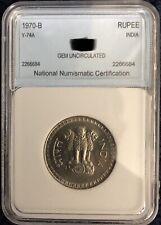 1970 One Rupee Bombay Diamond Mint Mark INDIA GEM RARE
