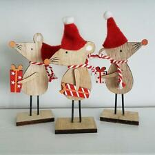 SET OF 3 CUTE WOODEN CHRISTMAS MICE WITH  PRESENTS AND HATS
