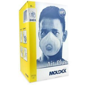 MOLDEX FFP 3 Reusable Washable Mask 3405 Air Plus Valved Half Face Mask - 5/Pack