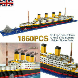3D Boat Titanic Cruise Ship Building Bricks Blocks Sets Construction 1860Pcs New