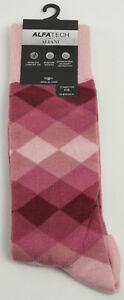 New Alfani Mens 7-12 Pink Argyle Rayon Knit Wicking Seamless Antimicrobial Socks