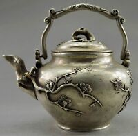 Collectible Decorated Old Handwork Tibet Silver carved Wintersweet Big TeaPot