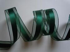 5yd Hunter Green Satin Wired Ribbon w/ Sheer Stripes Wedding Craft Party Favor