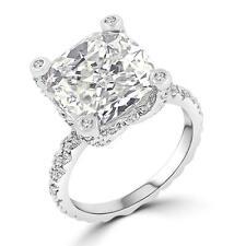 7.2 TCW Cushion Cut Solitaire Pave CZ Engagement Wedding Bridal Ring Size 5-10