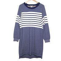 Elwood Apparel Co Blue Striped Long Sleeve Sweater Knit Dress Size14 Winter