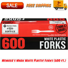 Members Mark White Plastic Forks 600 Ct Box Disposable Heavy Duty Construction